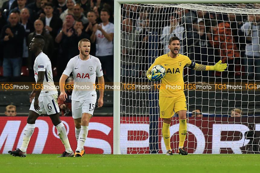 Hugo Lloris of Tottenham Hotspur screams at his defence after a close miss during Tottenham Hotspur vs Real Madrid, UEFA Champions League Football at Wembley Stadium on 1st November 2017