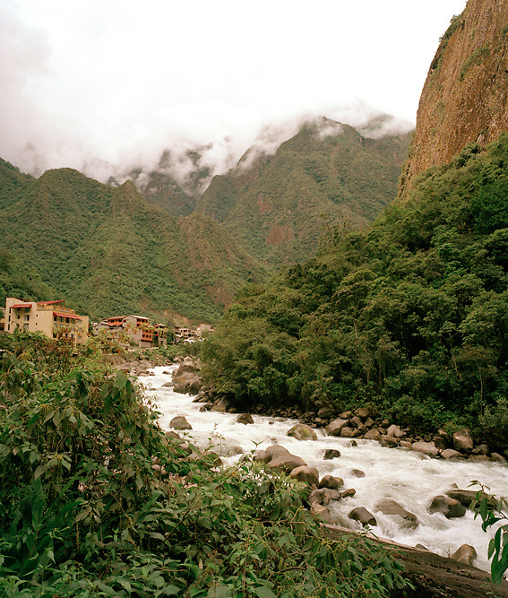 Peru, South America, southern hemisphere, Peruvian, Urabamba river, Aguas Calientes, Machu Picchu, cloud forest, lush, verdant, cloudy, Andes, Andean, clouds, green, river, small town, hiking, Incan trail, Inca, trek, trekking, mountain, mountainous, 8000 feet, vertical, no people, rushing river