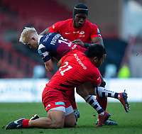 Bristol Bears' Matt Protheroe is tackled by Saracens' Billy Vunipola and Saracens' Maro Itoje<br /> <br /> Photographer Bob Bradford/CameraSport<br /> <br /> Gallagher Premiership - Bristol Bears v Saracens - Saturday 13th April 2019 - Ashton Gate - Bristol<br /> <br /> World Copyright © 2019 CameraSport. All rights reserved. 43 Linden Ave. Countesthorpe. Leicester. England. LE8 5PG - Tel: +44 (0) 116 277 4147 - admin@camerasport.com - www.camerasport.com