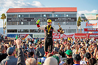 Feb 23, 2020; Chandler, Arizona, USA; NHRA top fuel driver Steve Torrence celebrates after winning the Arizona Nationals at Wild Horse Pass Motorsports Park. Mandatory Credit: Mark J. Rebilas-USA TODAY Sports