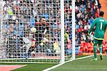 Real Madrid´s Keylor Navas and Celta de Vigo´s Iago Aspas scores a goal during 2015/16 La Liga match between Real Madrid and Celta de Vigo at Santiago Bernabeu stadium in Madrid, Spain. March 05, 2016. (ALTERPHOTOS/Victor Blanco)