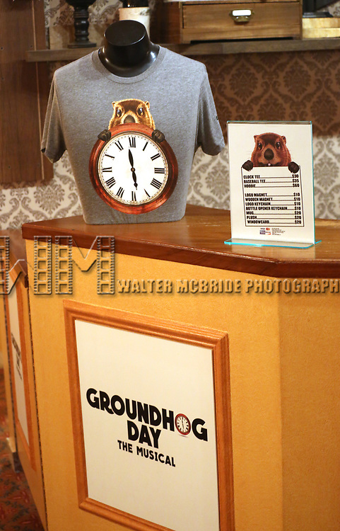 Merchandise store at the Broadway Opening Night  for 'Groundhog Day' at August Wilson Theatre on April 17, 2017 in New York City.