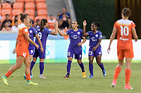 Houston, TX - Saturday June 17, 2017: Camila Martins Pereira and Jasmyne Spencer celebrate Marta Vieira Da Silva's goal during a regular season National Women's Soccer League (NWSL) match between the Houston Dash and the Orlando Pride at BBVA Compass Stadium.