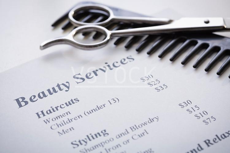 Price list at hair salon