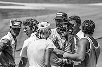 Bobby Allison is assisted by safety crew after crash, 27th place finish, 1978 Firecracker 400 NASCAR race, Daytona International Speedway, Daytona Beach, FL, July 4, 1978.  (Photo by Brian Cleary/ www.bcpix.com )