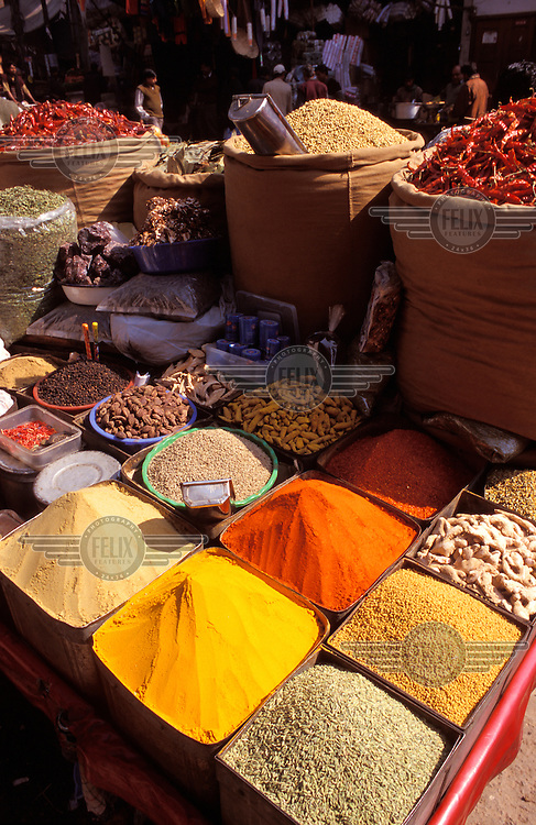 Spices on market stall.