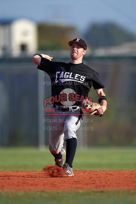 Edgewood Eagles Jonathan Roehler (9) during the first game of a doubleheader against the Plymouth State Panthers on April 17, 2016 at Lee County Player Development Complex in Fort Myers, Florida.  Plymouth State defeated Edgewood 6-5.  (Mike Janes/Four Seam Images)