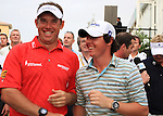 Rory McIlroy congratulates Lee Westwood after Lee wins on the Final Day of the Dubai World Championship Golf in Jumeirah, Earth Course, Golf Estates, Dubai  UAE, 22nd November 2009 (Photo by Eoin Clarke/GOLFFILE)