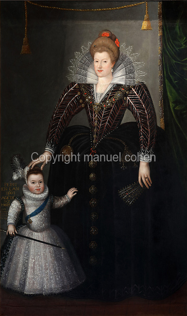 Portrait of Marie de Medici, 1575-1642, and the dauphin Louis, oil painting on canvas, 1603, by Charles Martin, 1562-1646, in the Garde-robe de la Reine, or Queen's Dressing Room, in the Francois I wing, built early 16th century in Italian Renaissance style and restored by Felix Duban 1861-66, at the Chateau Royal de Blois, built 13th - 17th century in Blois in the Loire Valley, Loir-et-Cher, Centre, France. The chateau has 564 rooms and 75 staircases and is listed as a historic monument and UNESCO World Heritage Site. Picture by Manuel Cohen