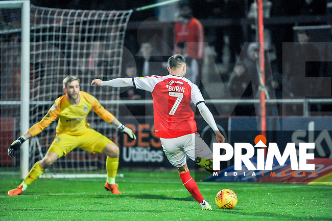 Fleetwood Town's forward Wes Burns (7) drills the second past Coventry City's goalkeeper Lee Burge (1) during the Sky Bet League 1 match between Fleetwood Town and Coventry City at Highbury Stadium, Fleetwood, England on 27 November 2018. Photo by Stephen Buckley / PRiME Media Images.