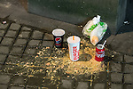 "© Joel Goodman - 07973 332324 . 17/12/2016 . Manchester , UK . The remnants of a takeaway and vomit on the pavement , in Piccadilly Gardens . Revellers out in Manchester City Centre overnight during "" Mad Friday "" , named for being one of the busiest nights of the year for the emergency services in the UK . Photo credit : Joel Goodman"