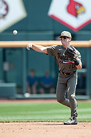 Vanderbilt Commodores shortstop Ethan Paul (10) makes a throw to first base during Game 3 of the NCAA College World Series against the Louisville Cardinals on June 16, 2019 at TD Ameritrade Park in Omaha, Nebraska. Vanderbilt defeated Louisville 3-1. (Andrew Woolley/Four Seam Images)