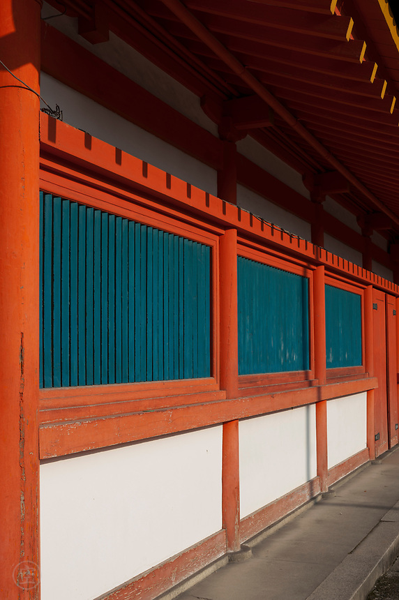Detail of the vermilion paintwork at the Heian Shrine, Kyoto.