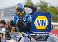 Apr 13, 2019; Baytown, TX, USA; NHRA funny car driver Ron Capps during qualifying for the Springnationals at Houston Raceway Park. Mandatory Credit: Mark J. Rebilas-USA TODAY Sports