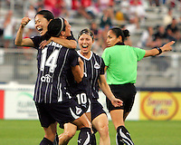 Homare Sawa #10 of the Washington Freedom celebrates with Sarah Huffman #14 and Rebecca Moros #19 after scoring the second goal against the Chicago Red Star during a WPS match at the Maryland Soccerplex, in Boyds Maryland on June 12 2010. The game ended in a 2-2 tie.