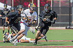 Orange, CA 05/17/14 - Nick Hillier (Arizona State #11), Christian Wilson (Colorado #23) and Sean Crane (Colorado #13) in action during the 2014 MCLA Division I Men's Lacrosse Championship game between Arizona State and Colorado at Chapman University in Orange, California.  Colorado defeated Arizona State 13-12.