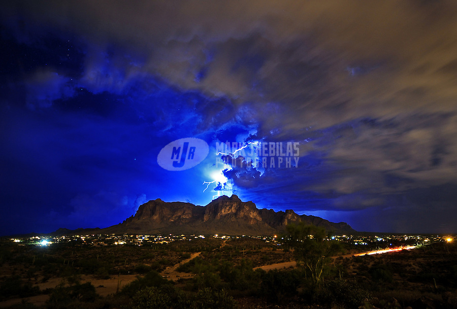 desert weather Arizona Superstition  Mountain Apache Junction Mesa cactus rain monsoon thunderstorm cloud clouds lightning bolt strike night