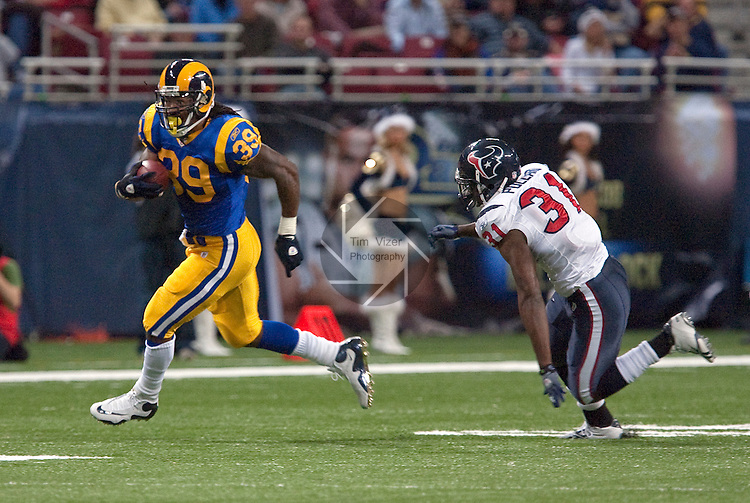 December 20, 2009                     Houston Texans safety Bernard Pollard (31, right) chases St. Louis Rams running back Steven Jackson (39) in the second quarter.   The St. Louis Rams hosted the Houston Texans at the Edward Jones Dome in downtown St. Louis on Sunday December 20, 2009.  The Texans defeated the Rams, 16-13.  The Texans improved their won-loss record to 7-7, and the Rams record now stands at 1-13.