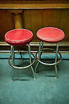 Two red bar stools at the Winnemucca Hotel, Nev.