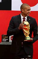 BOGOTA - COLOMBIA - 03 - 04 - 2018: David Trezeguet, ex futbolista francés sostiene el Trofeo Copa Mundo FIFA Moscú 2018 en su arribo a Bogotá. En su recorrido por América Latina, el trofeo será exhibido además en Argentina, Costa Rica y Panamá, países clasificados al Mundial de Rusia, así como en Chile. El evento que permitirá a más de 30.000 aficionados conocer el trofeo de cerca, los visitantes pueden además recorrer distintas secciones que simularán camerinos y banquillos de los jugadores y cuerpo técnico, así como un museo con camisetas de los países que participaran en el Mundial de Rusia. El trofeo inició su gira mundial en septiembre pasado, cuando partió de Rusia y pasará por 91 ciudades de 51 países y cuatro continentes, con lo que completará un recorrido de 152.000 kilómetros y terminará justo para el inicio de La Copa Mundo FIFA Moscu 2018. / David Trezeguet, former french footballer holds the FIFA World Cup Trophy Tour Moscow 2018 on its arrival in Bogotá. In its tour of Latin America, the trophy will also be exhibited in Argentina, Costa Rica and Panama, countries classified to the World Cup in Russia, as well as in Chile. The event that will allow more than 30.000 fans to get to know the trophy up close, visitors will also be able to see different sections that will simulate dressing rooms and benches for the players and coaching staff, as well as a museum with T-shirts from the countries that will participate in the World Cup in Russia. The trophy began its world tour last September, when it left Russia, and will pass through 91 cities in 51 countries and four continents, completing a journey of 152.000 kilometers and ending just before the start of the FIFA World Cup 2018 Moscow. / Photo: VizzorImage / Luis Ramirez / Staff.