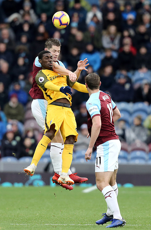 Burnley's James Tarkowski vies for possession with Brighton & Hove Albion's Yves Bissouma<br /> <br /> Photographer Rich Linley/CameraSport<br /> <br /> The Premier League - Burnley v Brighton and Hove Albion - Saturday 8th December 2018 - Turf Moor - Burnley<br /> <br /> World Copyright © 2018 CameraSport. All rights reserved. 43 Linden Ave. Countesthorpe. Leicester. England. LE8 5PG - Tel: +44 (0) 116 277 4147 - admin@camerasport.com - www.camerasport.com
