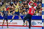 Jerry TOLLBRING (#17 Rhein-Neckar Loewen) \Michael OEHLER (#17 SG Bietigheim)\Juergen MUELLER (#12 SG Bietigheim)\ beim Spiel in der Handball Bundesliga, SG BBM Bietigheim - Rhein Neckar Loewen.<br /> <br /> Foto &copy; PIX-Sportfotos *** Foto ist honorarpflichtig! *** Auf Anfrage in hoeherer Qualitaet/Aufloesung. Belegexemplar erbeten. Veroeffentlichung ausschliesslich fuer journalistisch-publizistische Zwecke. For editorial use only.