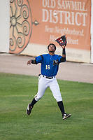 Missoula Osprey right fielder David Sanchez (16) prepares to catch a fly ball during a Pioneer League game against the Orem Owlz at Ogren Park Allegiance Field on August 19, 2018 in Missoula, Montana. The Missoula Osprey defeated the Orem Owlz by a score of 8-0. (Zachary Lucy/Four Seam Images)