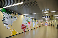 A station of Beijing Subway Line 10. Subway construction started in China's capital in 1965 and Subway Line 10 (25 km) was opened on 19 July 2008, in time for the Olympic Games. Its construction had started in Dec. 2003..23 Jul 2008