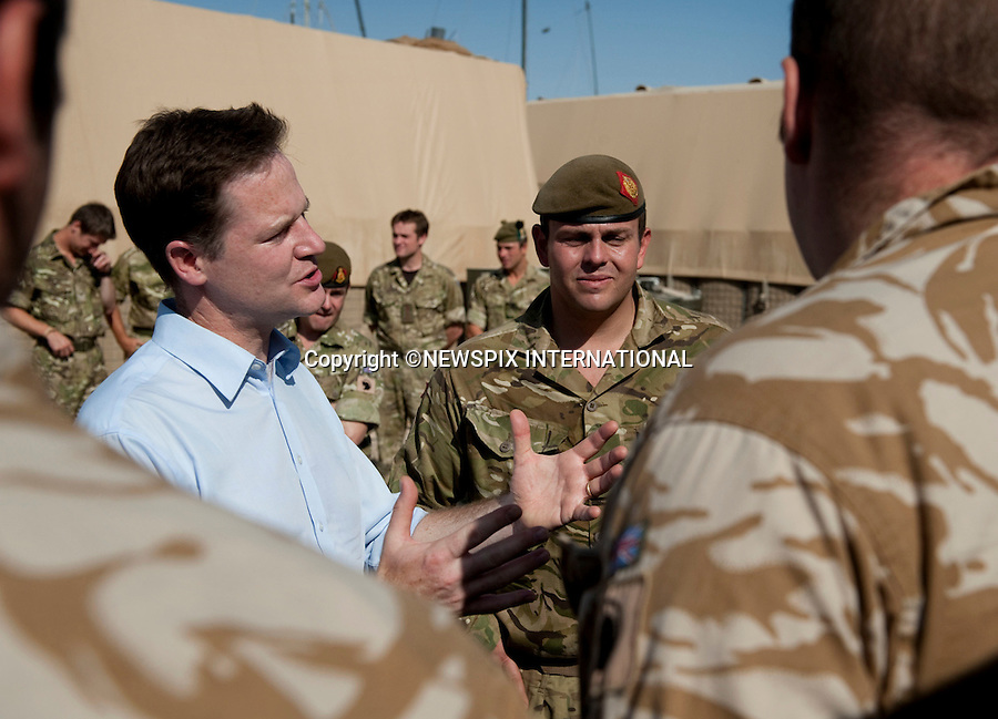 """NICK CLEGGDeputy Prime Minister Nick Clegg, visited Helmand Province in Afghanistan to thank British troops for their efforts in bringing security to the people of Helmand Province. The Deputy Prime Minister was on a one-day flying visit to the country, including a visit to the hospital and the new training village in Camp Bastion, which followed by him paying his respects at the war memorial. Camp Bastion, Afghanistan_31/08/2010.Photo Credit: ©G Kendall_Newspix International..**ALL FEES PAYABLE TO: """"NEWSPIX INTERNATIONAL""""**..PHOTO CREDIT MANDATORY!!: NEWSPIX INTERNATIONAL..IMMEDIATE CONFIRMATION OF USAGE REQUIRED:.Newspix International, 31 Chinnery Hill, Bishop's Stortford, ENGLAND CM23 3PS.Tel:+441279 324672  ; Fax: +441279656877.Mobile:  0777568 1153.e-mail: info@newspixinternational.co.uk."""
