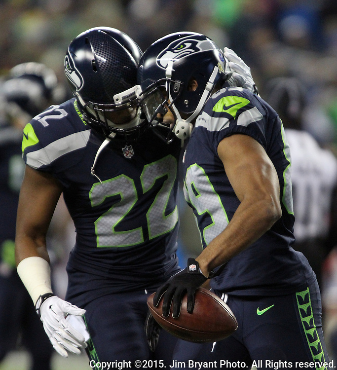 Seattle Seahawks wide receiver Doug Baldwin( 89) celebrates with running back Fred Jackson (22)  after scoring on a 32 yard touchdown pass from quarterback Russell Wilson over defending Arizona Cardinals at CenturyLink Field in Seattle, Washington on November 15, 2015. The Cardinals beat the Seahawks 39-32.   ©2015. Jim Bryant photo. All Rights Reserved.