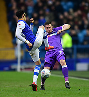 Bolton Wanderers' Andrew Taylor vies for possession with Sheffield Wednesday's Sean Clare<br /> <br /> Photographer Chris Vaughan/CameraSport<br /> <br /> The EFL Sky Bet Championship - Sheffield Wednesday v Bolton Wanderers - Saturday 10th March 2018 - Hillsborough - Sheffield<br /> <br /> World Copyright &copy; 2018 CameraSport. All rights reserved. 43 Linden Ave. Countesthorpe. Leicester. England. LE8 5PG - Tel: +44 (0) 116 277 4147 - admin@camerasport.com - www.camerasport.com