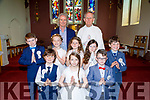 Pupils of Bouleenshere NS Ballyheigue with their teacher/principal Terence Dineen and Fr O'Mahony after their first Holy Communion at St Mary's Church, Ballyheigue on Saturday were Naomi Flaherty, Holly Galloway, Saoirse O'Hanlon, Chelesa Daly, Jack Fay, Willem Stack, Fionn Guerin and Eric O'Sullivan