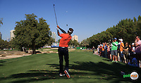 Joost Luiten (NED) plays from the 11th tee during the Final Round of the 2016 Omega Dubai Desert Classic, played on the Emirates Golf Club, Dubai, United Arab Emirates.  07/02/2016. Picture: Golffile | David Lloyd<br /> <br /> All photos usage must carry mandatory copyright credit (&copy; Golffile | David Lloyd)