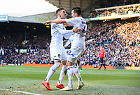 Leeds United's Jack Harrison celebrates scoring the opening goal with Pablo Hernandez<br /> <br /> Photographer Alex Dodd/CameraSport<br /> <br /> The EFL Sky Bet Championship - Leeds United v Sheffield Wednesday - Saturday 13th April 2019 - Elland Road - Leeds<br /> <br /> World Copyright © 2019 CameraSport. All rights reserved. 43 Linden Ave. Countesthorpe. Leicester. England. LE8 5PG - Tel: +44 (0) 116 277 4147 - admin@camerasport.com - www.camerasport.com