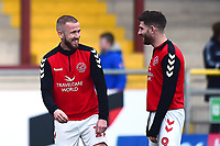 Fleetwood Town's Ched Evans shares a joke with Paddy Madden<br /> <br /> Photographer Richard Martin-Roberts/CameraSport<br /> <br /> The EFL Sky Bet League One - Fleetwood Town v Doncaster Rovers - Wednesday 26th December 2018 - Highbury Stadium - Fleetwood<br /> <br /> World Copyright &not;&copy; 2018 CameraSport. All rights reserved. 43 Linden Ave. Countesthorpe. Leicester. England. LE8 5PG - Tel: +44 (0) 116 277 4147 - admin@camerasport.com - www.camerasport.com