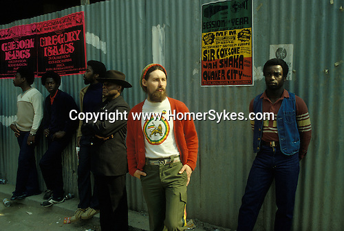 White Rastafarian. Black community Notting Hill west London 1970s or 1980s England UK