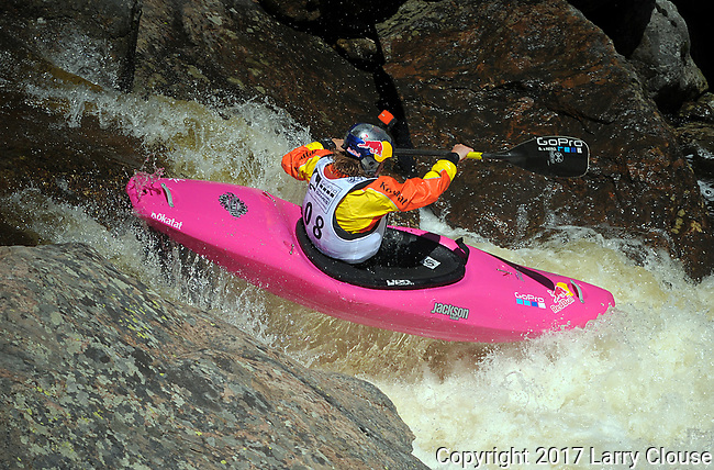 June 8, 2017 - Vail, Colorado, U.S. - USA's, Dane Jackson, powers through Homestake Creek's Little Sunshine Rapid in the Steep Creek competition during the GoPro Mountain Games, Vail, Colorado.  Adventure athletes from around the world meet in Vail, Colorado, June 8-11, for America's largest celebration of mountain sports, music, and lifestyle.