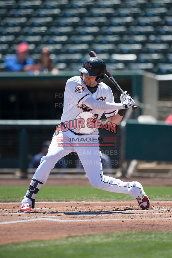 Sacramento RiverCats third baseman Ryder Jones (8) at bat during a Pacific Coast League against the Tacoma Rainiers at Raley Field on May 15, 2018 in Sacramento, California. Tacoma defeated Sacramento 8-5. (Zachary Lucy/Four Seam Images)