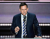 Peter Thiel, Venture Capitalist makes remarks at the 2016 Republican National Convention held at the Quicken Loans Arena in Cleveland, Ohio on Thursday, July 21, 2016.<br /> Credit: Ron Sachs / CNP<br /> (RESTRICTION: NO New York or New Jersey Newspapers or newspapers within a 75 mile radius of New York City)