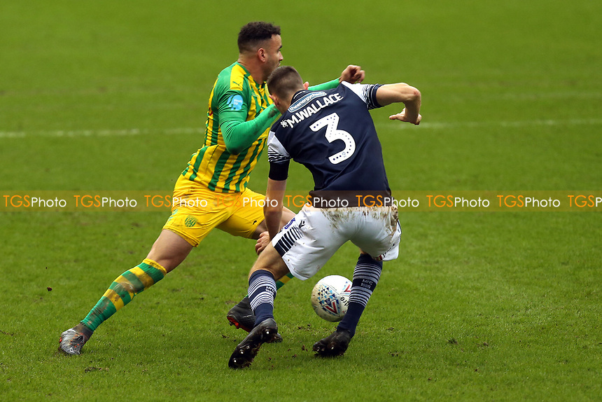 Murray Wallace of Millwall and /Hal Robson-Kanu of West Bromwich Albion during Millwall vs West Bromwich Albion, Sky Bet EFL Championship Football at The Den on 9th February 2020