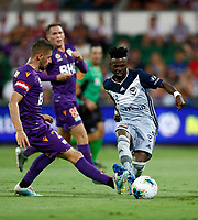 31st February 2020; HBF Park, Perth, Western Australia, Australia; A League Football, Perth Glory versus Melbourne Victory; Jake Brimmer of Perth Glory blocks the pass of Elvis Kamsoba of Melbourne Victory