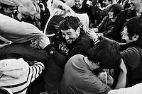 People hit each other with pillows during 2011 International Pillow Fight Day in Cambridge Common in Cambridge, Massachusetts, USA.  The event was organized by Banditos Misterios, a Boston-area group that anonymously organizes free, public events in the city.