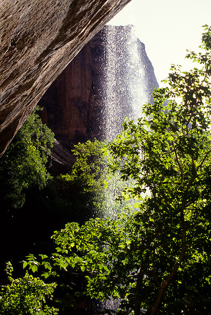 Emerald Pool waterfall in eroded sand stone canyons in Zion National Park, Utah, USA