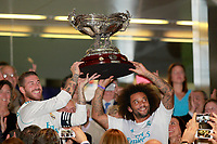 Real Madrid's players Sergio Ramos (l) and Marcelo Vieira celebrate the victory in Santiago Bernabeu Trophy. August 23,2017. (ALTERPHOTOS/Acero) /NortePhoto.com