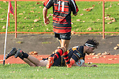 Haamiora Clake scores his second try for Bombay. Counties Manukau Premier Club Rugby game between Papakura and Bombay, played at Massey Park Papakura on Saturday June 16th 2018. Bombay won the game 36 - 17 after leading 17 - 7 at halftime.<br /> Papakura Ray White 17 - Kris Smithson 2, Taafaga Tagaloa tries, Monty Punatai conversion.<br /> Bombay 36 - Jordan Goldsmith, Haamiora Clarke 2, Patrick Masoe, Mitchell Thackham, Chay Mackwood tries, Jordan Goldsmith 2, Ki<br /> Anufe conversions.<br /> Photo by Richard Spranger.