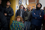 SPAIN, Madrid: Neighbors and people in protest against evictions after trying to evict Vicente Torres from his apartment in Madrid on April 18, 2012. Vicente Torres, 73, who is severy ill and underwent a recent heart surgery, faces an eviction from his house. Eviction procedures in Spanish courts for unpaid mortgages and rent hit a record of 58,241 in 2011, a 21.2 percent rise over the previous year. Evictions have soared in Spain since the collapse of a property bubble in 2008 that triggered the country's economic crisis. (c) Pedro ARMESTRE