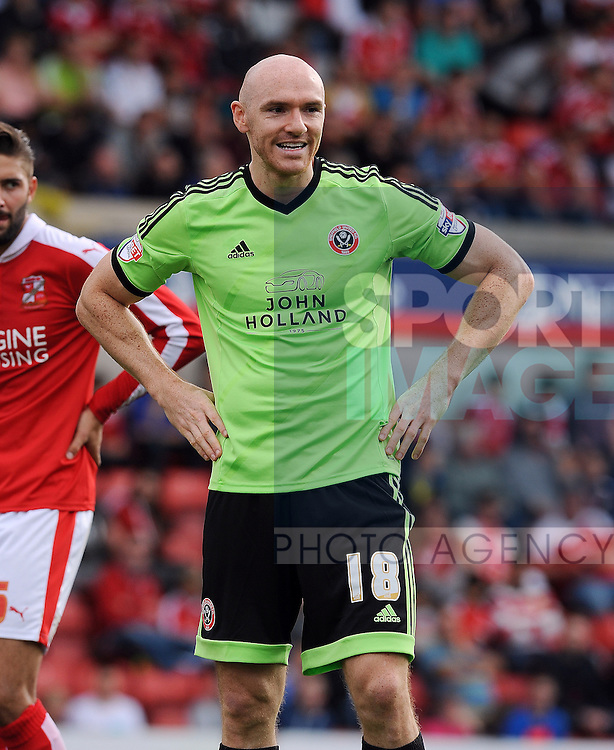 Conor Sammon of Sheffield United<br /> - English League One - Swindon Town vs Sheffield Utd - County Ground Stadium - Swindon - England - 29th August 2015