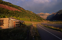 The road leading to Telluride, CO.