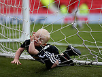 Kit Rooney son of Wayne takes a tumble in the back of the net during the English Premier League match at the Old Trafford Stadium, Manchester. Picture date: May 21st 2017. Pic credit should read: Simon Bellis/Sportimage