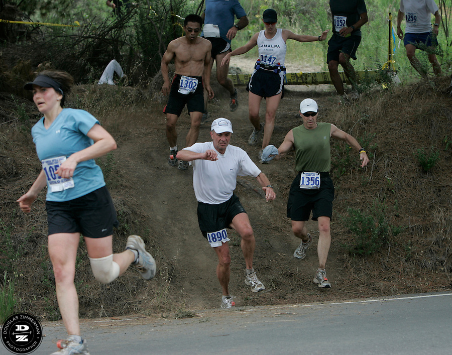 Several runnerns jump over a stile and leap onto Highway 1 to race the final quarter-mile of  the 99th running of the Dipsea Race at Sintson Beach State Park in Stinson Beach, Calif. on Sunday June 14th, 2009.